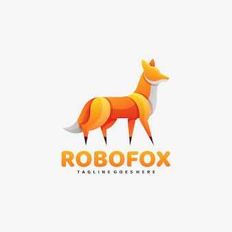 Logo robot fox farbverlauf bunter stil.