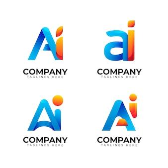 Logo-sammlung mit künstlicher intelligenz und farbverlauf