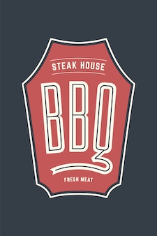 Logo-schablone des grillgrillfleischrestaurants mit grill-symbolen, textgrill, steakhaus, frisches fleisch. markengrafikvorlage für fleischgeschäft oder - menü, plakat, etikett. illustration