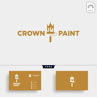 Logo-schablonenvektor-ikonenelement der krone des bunten pinsels