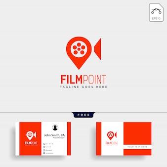 Logo-schablonenvektorillustrations-ikonenelement des filmpunktnavigators oder des stiftkartenkinos einfaches