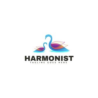 Logo schwan farbverlauf bunter stil.