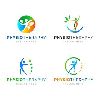 Logo-set für physiotherapie mit farbverlauf