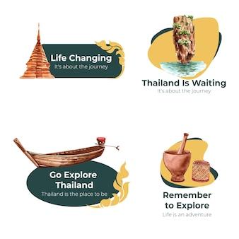 Logo-set mit thailand-reisekonzept für branding und marketing im aquarellstil
