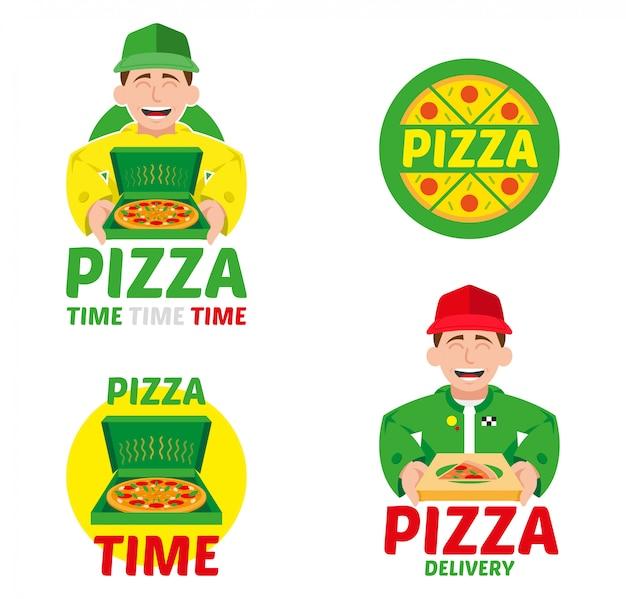 Logo symbol elemente maskottchen cartoon charakter schnelle geschwindigkeit lieferservice set für italien heiße große pizza in box aus restaurant bar geschäft. moderne stilillustration isoliert