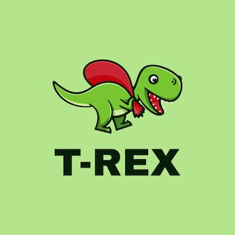 Logo t-rex einfacher maskottchen-stil.