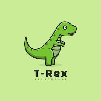 Logo t-rex love einfacher maskottchen-stil.