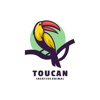 Logo toucan color mascot style.