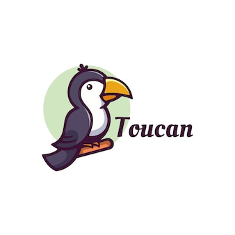 Logo toucan simple mascot style.