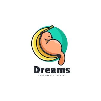 Logo träume einfacher maskottchen-stil.