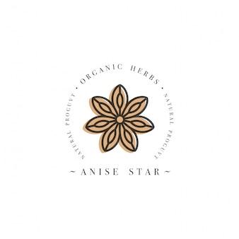 Logo und emblem der verpackungsdesignvorlage - kräuter- und gewürzanisstern. logo im trendigen linearen stil.