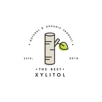 Logo und emblem der verpackungsschablone - zucker - xylit. logo im trendigen linearen stil.