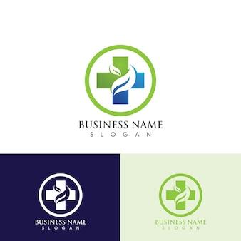 Logo und symbol des gesundheitskrankenhauses, grüner logovektor