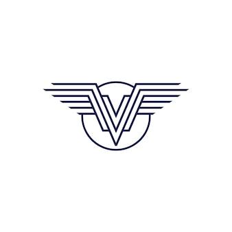 Logo-vektor-emblem der flügel