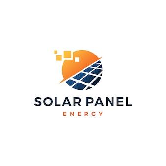 Logo-vektorikone der sonnenkollektorenergie elektrischer strom
