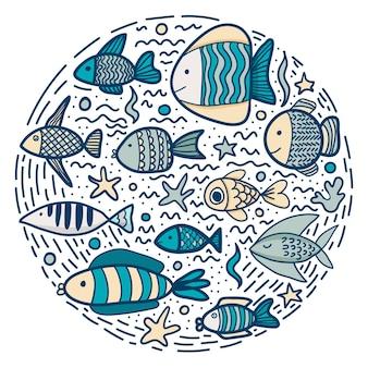 Logo von niedlichen bunten fischen. gezeichnete illustration des vektors hand in der kreisform
