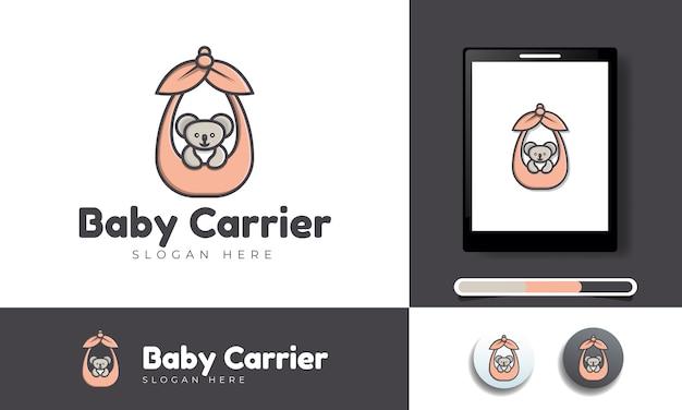 Logo-vorlage des babyartikelgeschäfts mit dem konzept eines getragenen koalas