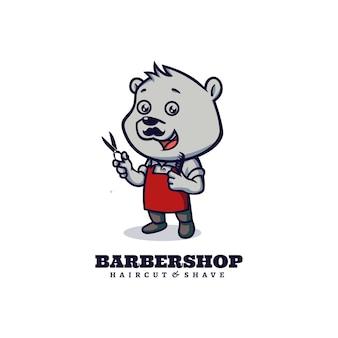 Logo-vorlage des barbershop-bär-maskottchen-karikatur-stils