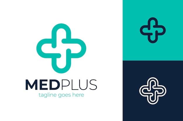 Logo-vorlage des kreativen gesundheitskonzeptes. kreuz plus medizinische logo-symbolvorlagenelemente