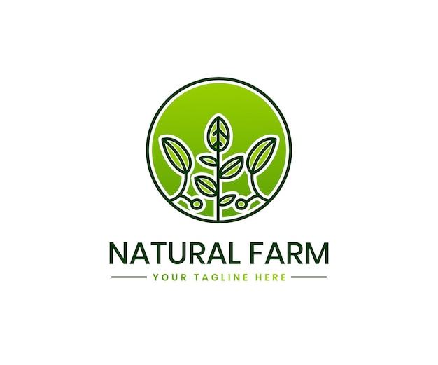 Logo-vorlage für den ökologischen landbau mit der marke für grünes landwirtschaftsfeld landschaftspflanze bioprodukt
