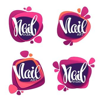 Logo-vorlage für ihr nail studio und ihren maniküre-salon mit schriftzugkomposition