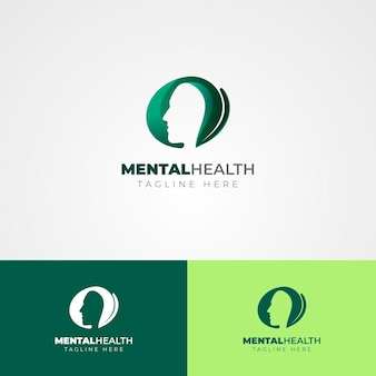 Logo-vorlage für psychische gesundheit auf verschiedenen farben