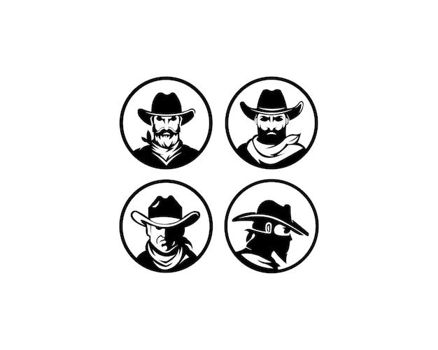 Logo vorlage mit dem bild des mannes in hut.