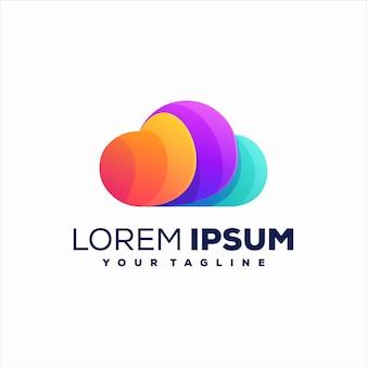 Logo-vorlage mit farbverlaufswolke