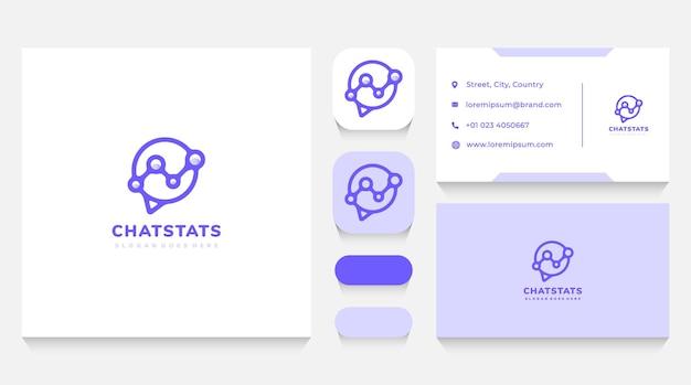Logo-vorlage und visitenkarte für chat-blase und diskussionsstatistik