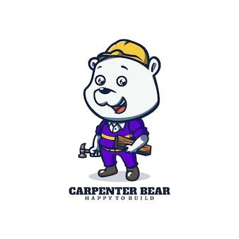 Logo-vorlage von carpenter bear maskottchen cartoon-stil