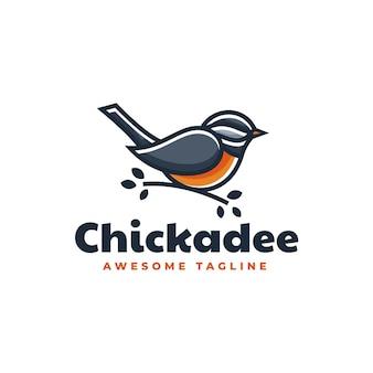 Logo-vorlage von chickadee simple maskottchen-stil.