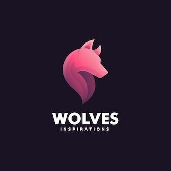 Logo-vorlage von wölfen farbverlauf bunter stil