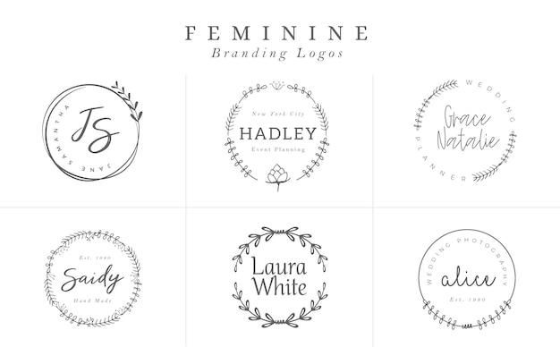 Logo-vorlagen-auflistung. logo gesetzt. minimalistische logos. vorgefertigtes logo-design