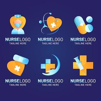 Logo-vorlagen für farbverlaufskrankenschwestern