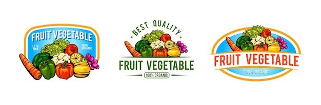 Logo-vorlagendesign für gemüse und obst