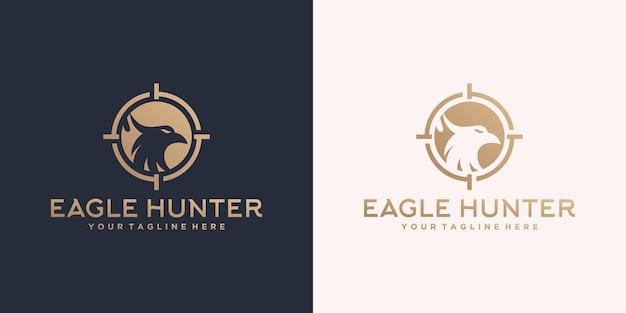 Logo-vorlagendesign für wildadlerjägerhunter