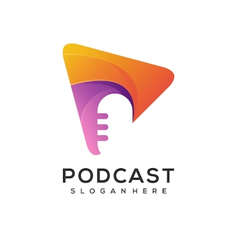 Logo-wiedergabetaste mit buntem mikrofon-podcast-farbverlauf