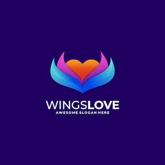 Logo wings lieben farbverlaufsstil.