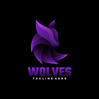 Logo wolves gradient bunter stil.