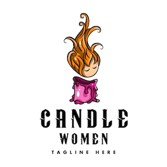 Logo woman kerze für spa und schönheit