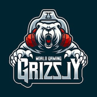 Logo world gaming grizzly maskottchen cartoon