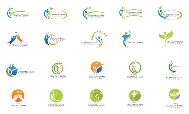 Logo-zeichen-illustrationsvektordesign des menschlichen charakters