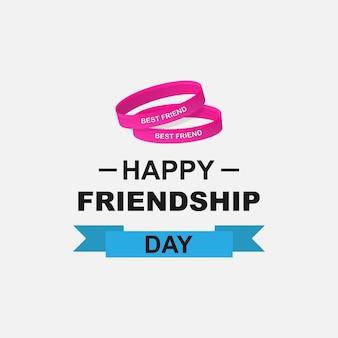 Logo zum tag der freundschaft. happy friendship day text und freundschaftsarmbänder mit der aufschrift best friend. vektor-eps 10