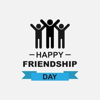 Logo zum tag der freundschaft. inschrift happy friendship day und ein symbol für eine gruppe von freunden. vektor-eps 10