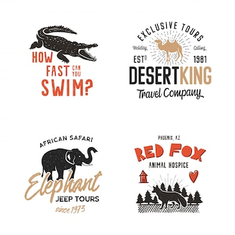 Logoabzeichen der wilden tiere
