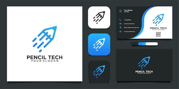 Logodesign bleistifttechnologie und visitenkarte