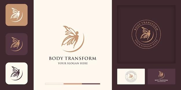 Logodesign der geflügelten frau und visitenkartendesign