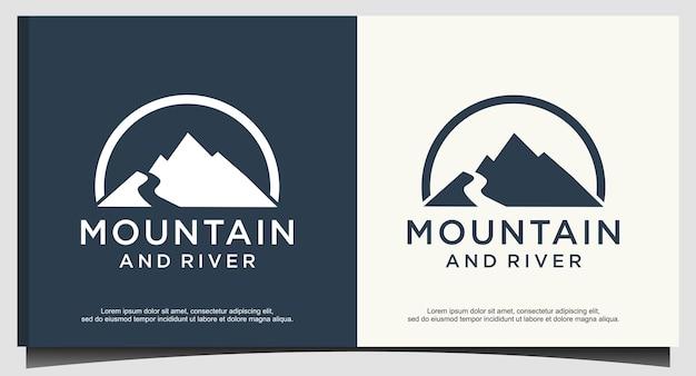 Logodesign für berg- und flussnatur Premium Vektoren