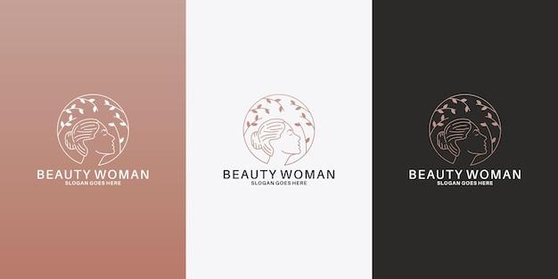 Logodesign für frauen und blätter für ihren salon, ihr spa, ihre kosmetik
