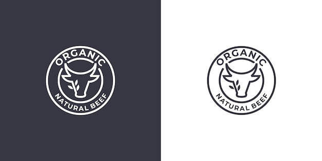Logodesign für frisches rindfleisch, lineares logo für kopfrindfleisch